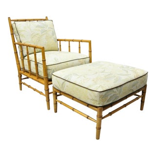 Faux Bamboo Chinese Chippendale Martha Stewart Bernhardt Lounge Chair & Ottoman For Sale