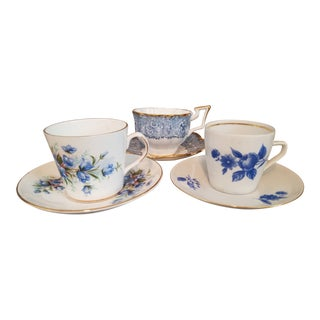 Varied European Blue and White Fine Porcelain China Tea Cups and Saucers - Set of 3 For Sale