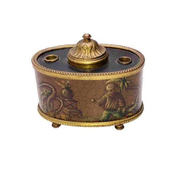 Antique French Chinoiserie Ink Well For Sale - Image 10 of 10