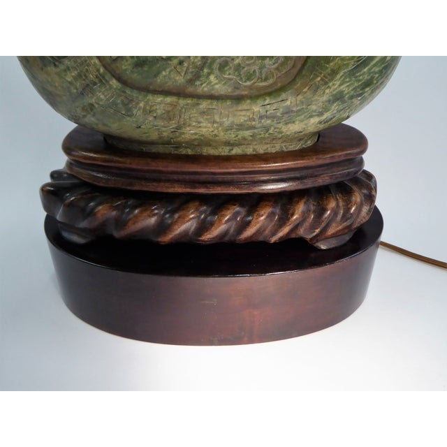 Soapstone Large Carved Asian Soapstone Vessel Table Lamp 1940s For Sale - Image 7 of 11