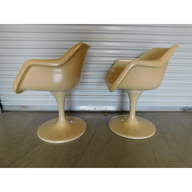 Mid-Century Saarinen Style Fiberglass Swivel Tulip Chairs - A Pair For Sale - Image 5 of 11