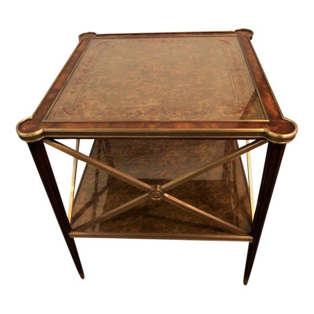 Hollywood Regency Bronze Decorated End Table X-Base Sides Tortoise Glass Top - Image 1 of 11