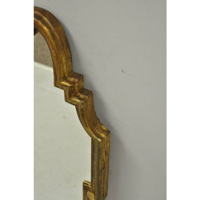 Gold Italian Gold Giltwood Hollywood Regency Scroll Wall Console Mirror Kent Coffey For Sale - Image 8 of 11
