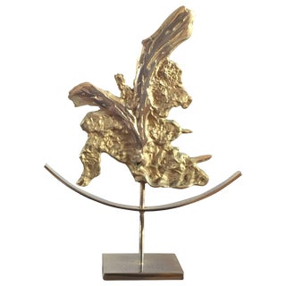 Abstract Brutalist Sculpture in Bronze Philippe Cheverny Attributed France 1970s For Sale