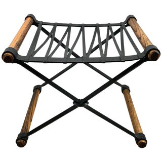 "Cleo Baldon ""X"" Stool of Wrought Iron and Oak For Sale"