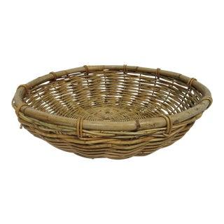 Vintage Mid Century Rattan Basket For Sale