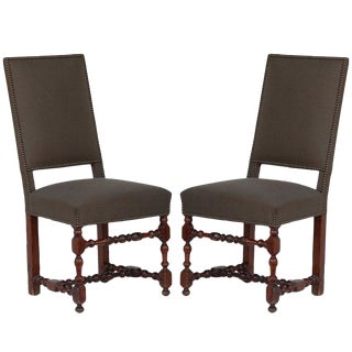 Classic Turned Wood Louis XIII Style Side Chairs - a Pair For Sale