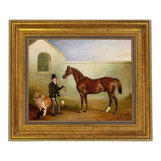 Equestrian Fox Hunt Scene Print Reproduction on Canvas in Antiqued Gold Frame For Sale