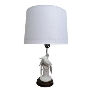Mid 20th Century Vintage Porcelain Dove Lamp For Sale