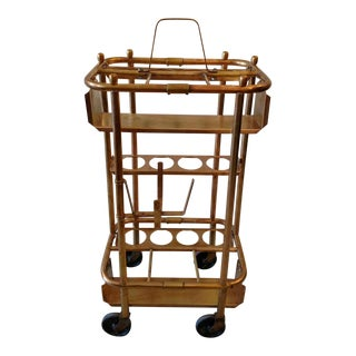 Steampunk Styled, Vintage Brass Bar Cart on Wheels For Sale