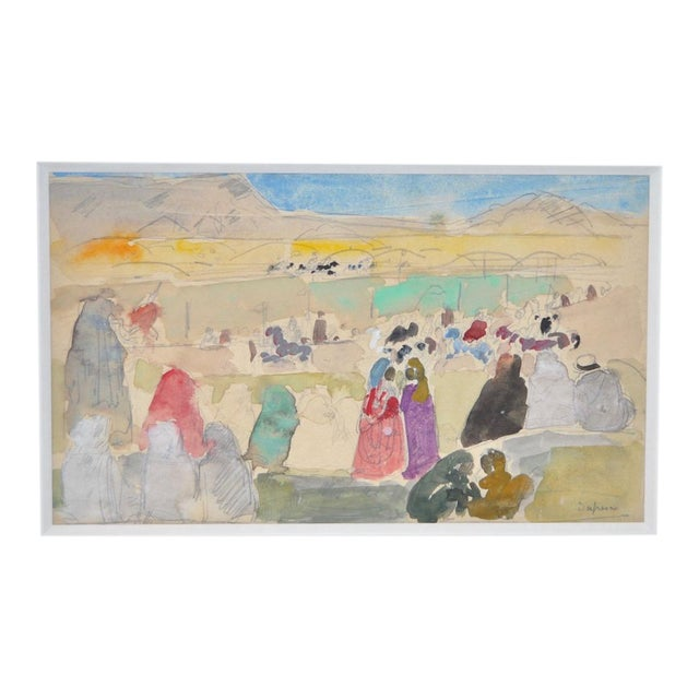 1920s Charles-George Dufresne Original Watercolor For Sale