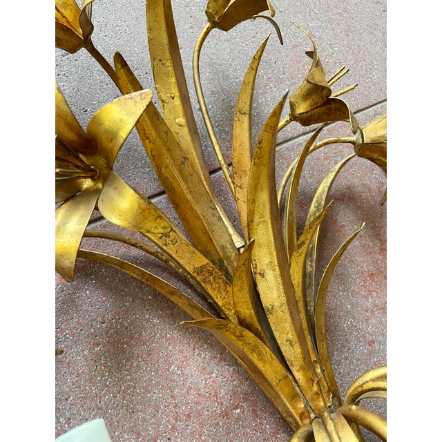 Gold Italian Mid Century Hollywood Regency Gilt Toleware Floral Sconces - a Pair For Sale - Image 8 of 13