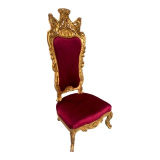 Roccoco Style Gold Throne Chair For Sale