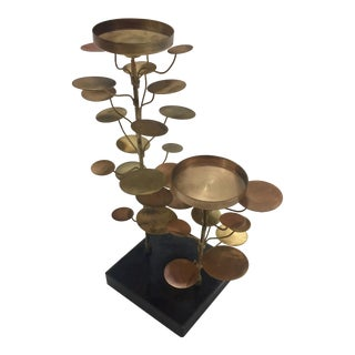 Vintage Curtis Jere Copper, Brass and Marble Tree Style Sculpture or Candle Holder For Sale