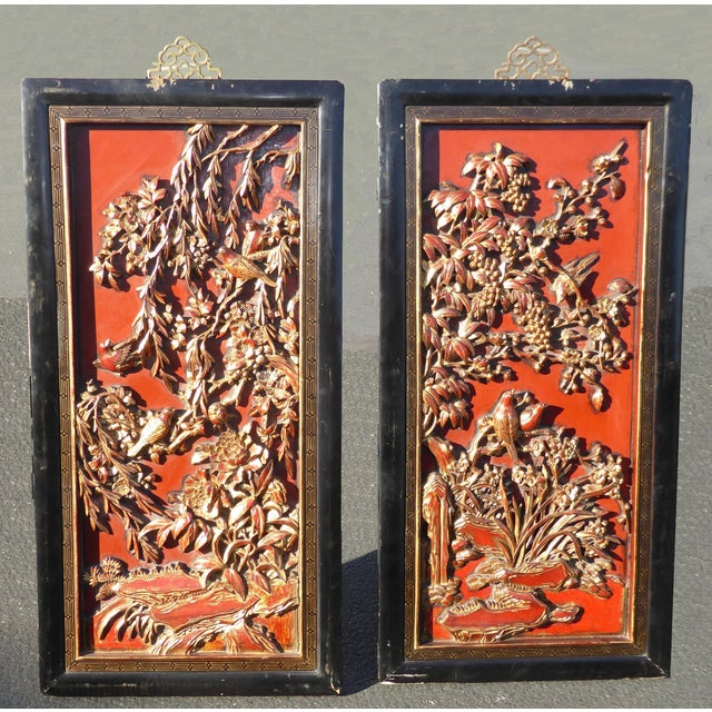 Vintage Asian Red & Gold Gilt Floral Carved Wall Panels- A Pair - Image 2 of 11
