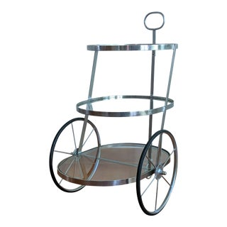 1950s Modern Industrial Rolling Bar Cart, Attributed to Aldo Tura For Sale