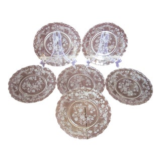 Traditional Etched Glass Plates - Set of 6