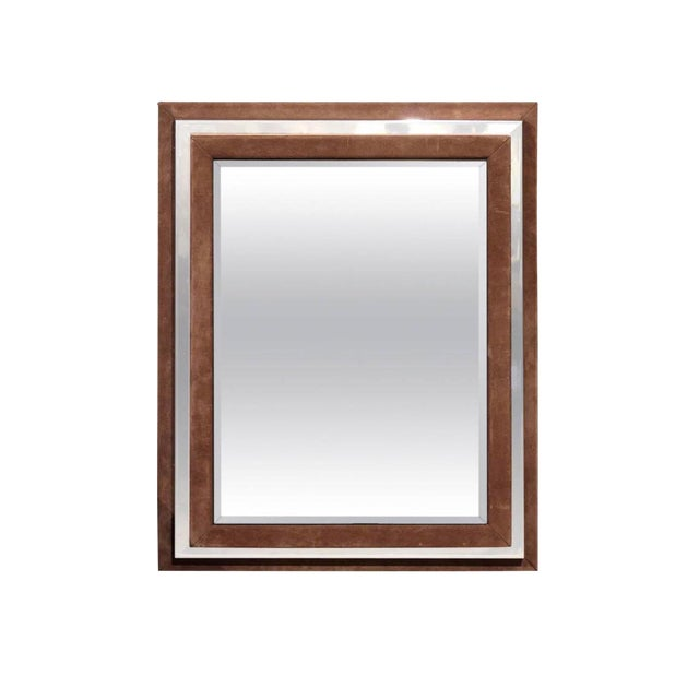 Art Deco Suede and Chrome Mirror For Sale