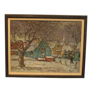 """1940s Traditional Painting, """"Snowy Westport Day"""" by W.F. Matthews"""