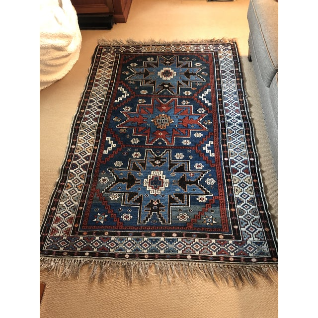 Antique Area Rug in Blues and Cranberry For Sale - Image 10 of 10