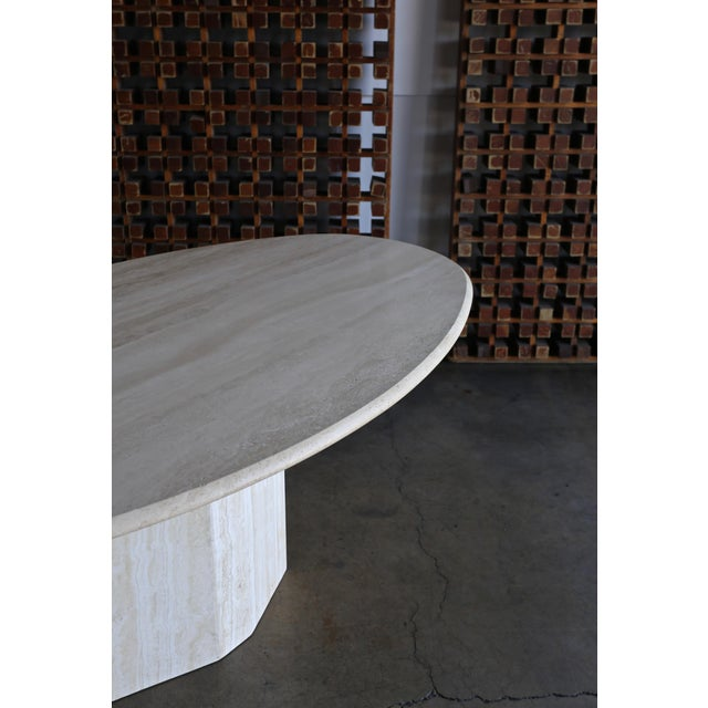 Modern Travertine Oval Dining Table Circa 1980 For Sale - Image 3 of 11