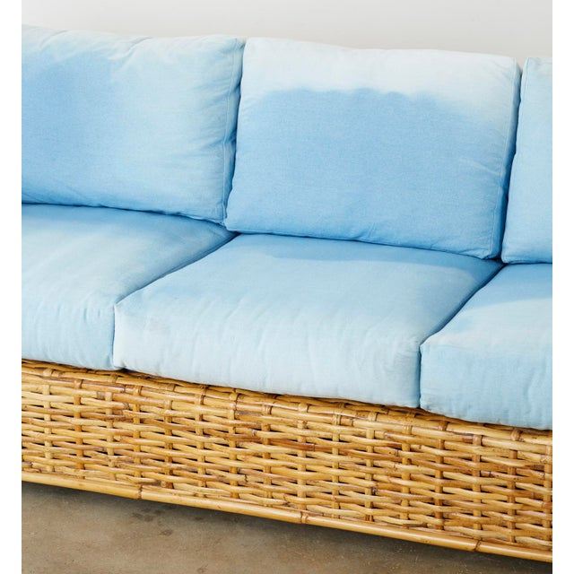 Late 20th Century Ralph Lauren Woven Rattan Sofa With Blue Ombre Upholstery For Sale - Image 5 of 13