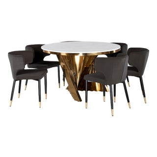 Waterfall Dining Set With Marble Top & Black & Gold Chairs - Set of 7 For Sale