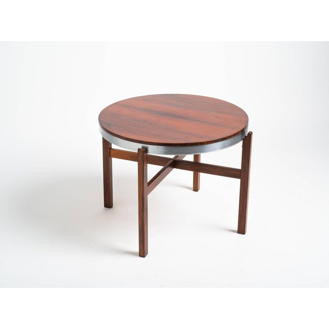 Metal Norwegian Rosewood Side Table With Metal Trim For Sale - Image 7 of 9