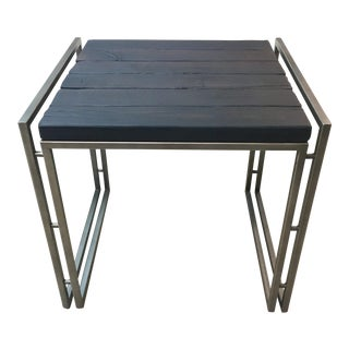 Industrial Hammary Sagewood Blackened Side Table For Sale