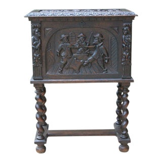 Antique French Oak 19th Century Renaissance Barley Twist Cabinet Bible Box End Table For Sale