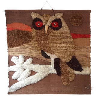 Don Freedman Woven Owl Tapestry For Sale