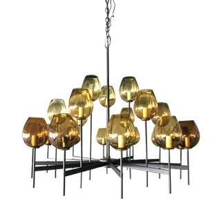 Mid Century Modern Lightolier Chandelier With Amber Globes For Sale