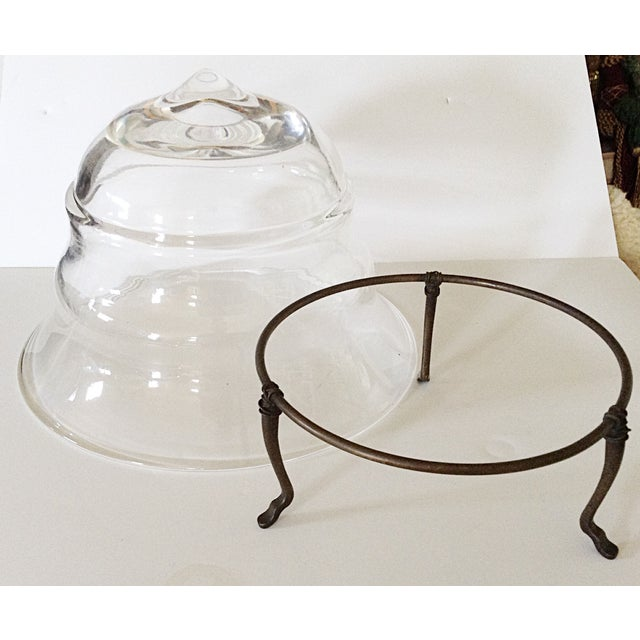 Transparent Glass Bowl on Metal Stand - Image 3 of 3