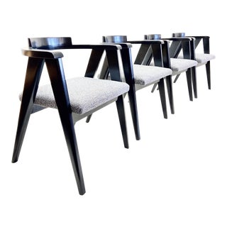 Allan Gould Style Black Compass Chairs - Set of 4 For Sale