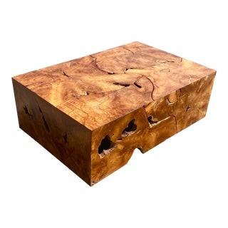 Vintage Boho Chic Slab Wood Puzzle Coffee Table For Sale