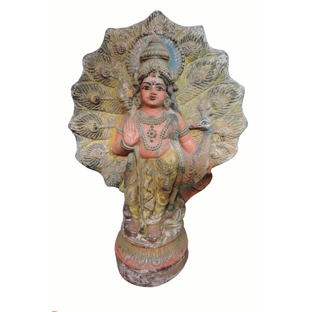 Mid 20th Century Old Terra Cotta Hindu Goddess Figure With Peacock For Sale - Image 5 of 5
