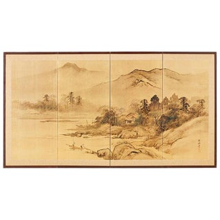 Japanese Four-Panel Screen Landscape With Fisherman For Sale