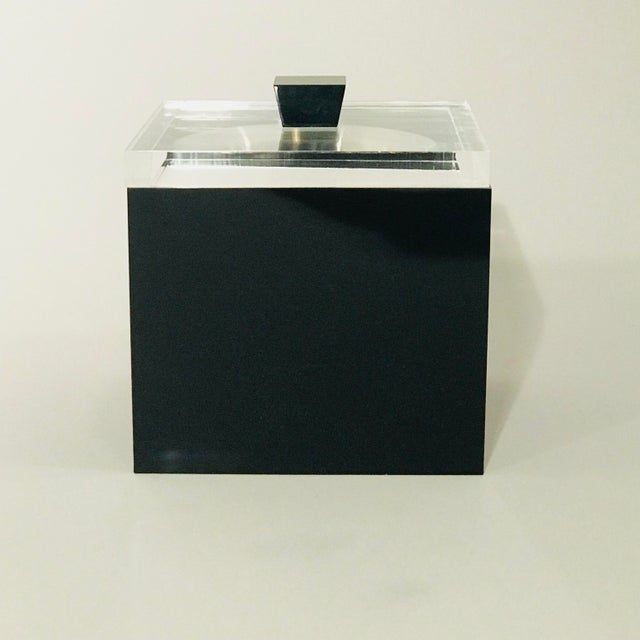 Mid-century Modern Lucite Ice-bucket with removable inner chamber, by Alessandro Albrizzi.