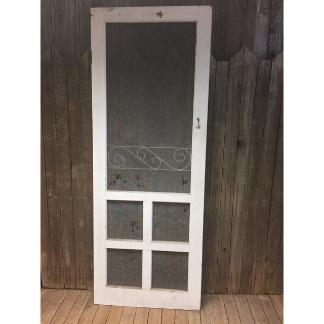 Vintage White Wood Country Screen Door Chairish