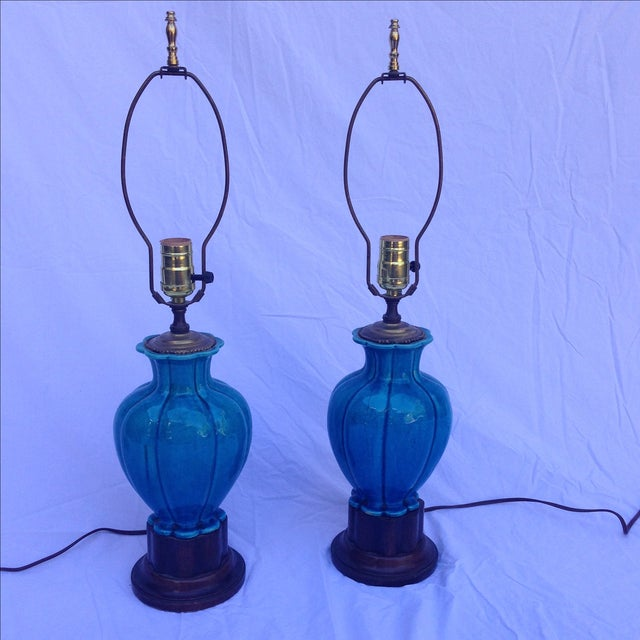 Chinese Vintage Turquoise Lamps - A Pair - Image 2 of 6
