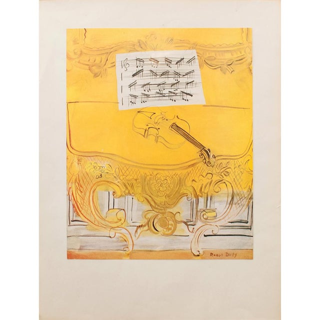 Vintage tipped-in plate lithograph after oil painting Yellow Console With A Violin (1949) by Raoul Dufy. Signed in the...