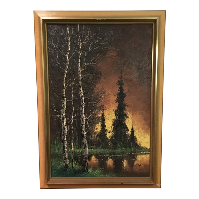 Vintage Framed Landscape Painting - Image 1 of 9