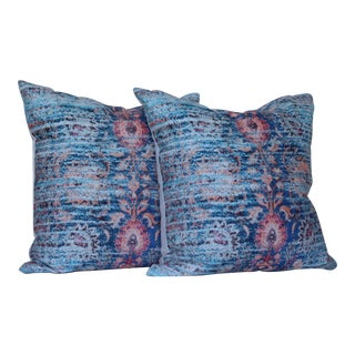 Blue Ikat Distressed Print Pillow Covers - a Pair For Sale