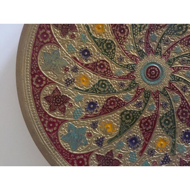 Various Artists Vintage Moroccan Multicolored Enameled Brass Relief Plate For Sale - Image 4 of 9