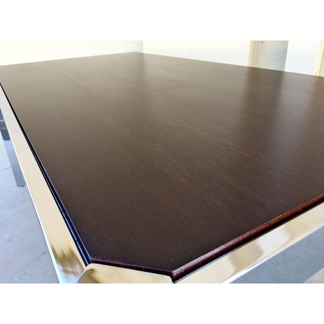 Milo Baughman DIA Wood & Chrome Dining Table - Image 8 of 8
