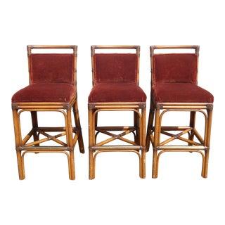 Vintage Tiki Palm Beach Style Bamboo Rattan Burgundy Velvet Barstools ~ Set of 3