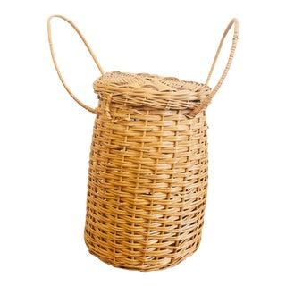 Large Vintage Chilean Lidded Basket For Sale