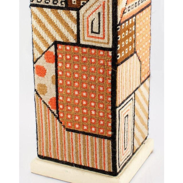 Contemporary Geometric Needlepoint Table Lamp For Sale - Image 3 of 4