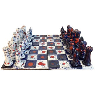 1970s Psychedelic Studio Pottery Chess Set For Sale