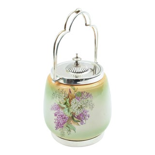 English Porcelain With Silver Plate Covered Ice Bucket For Sale